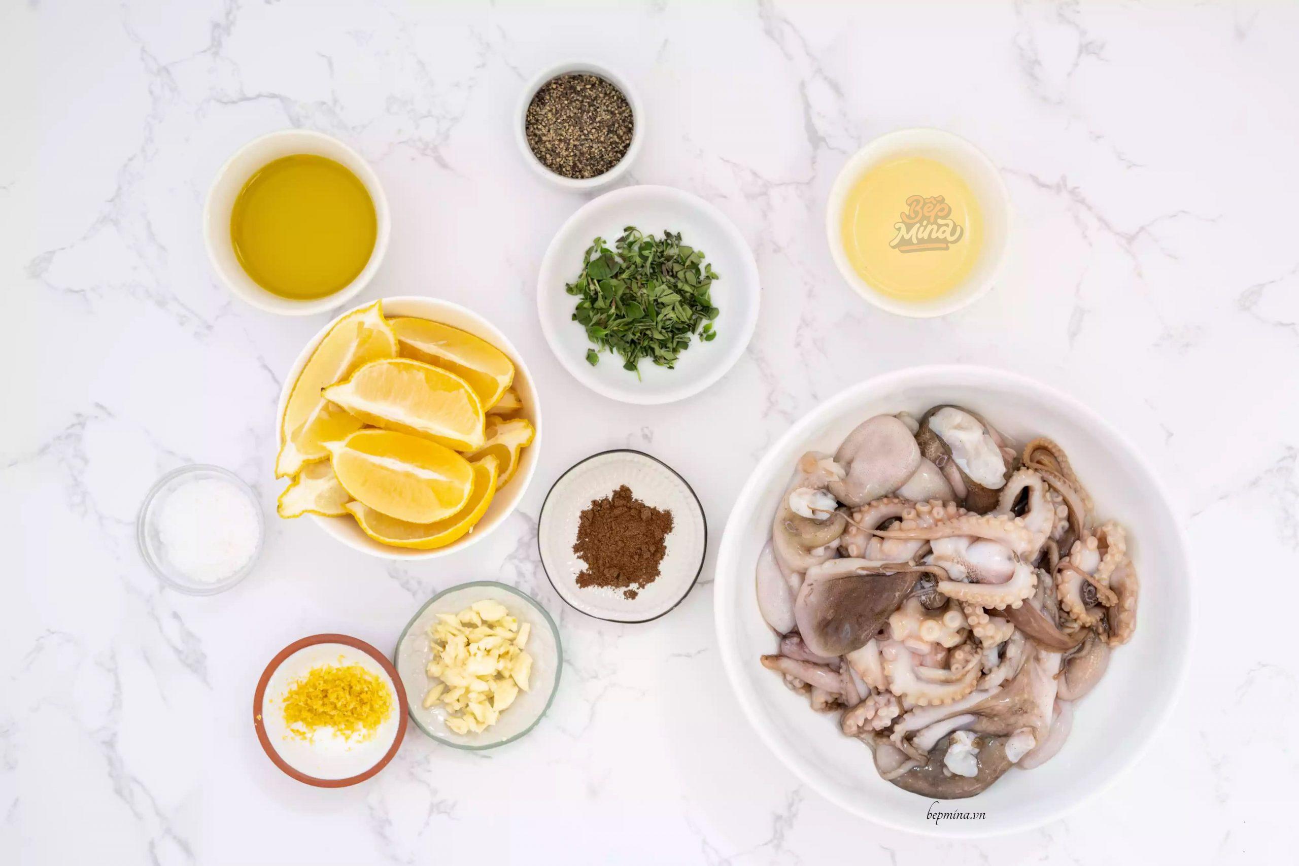 nguyên liệu làm bạch tuộc nướng chanh
