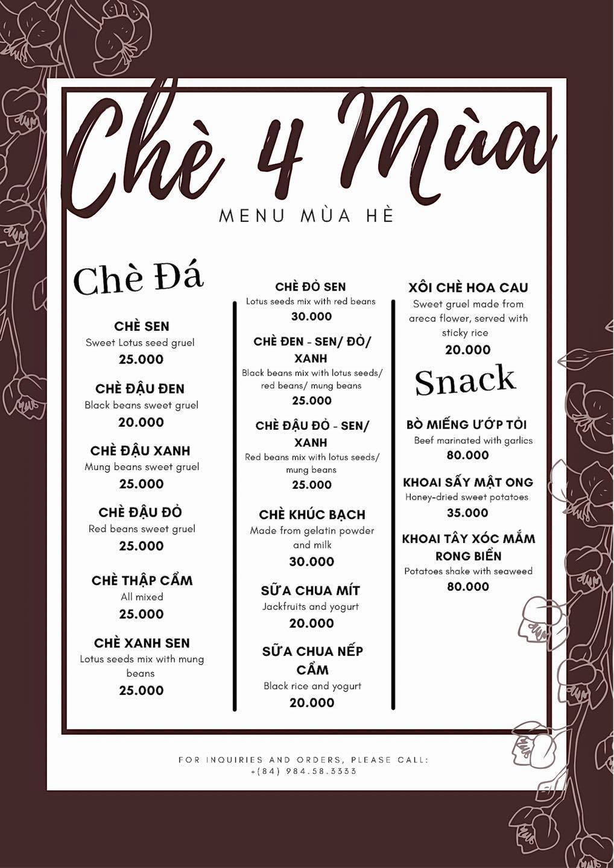 menu chè 4 mùa Hàng Cân