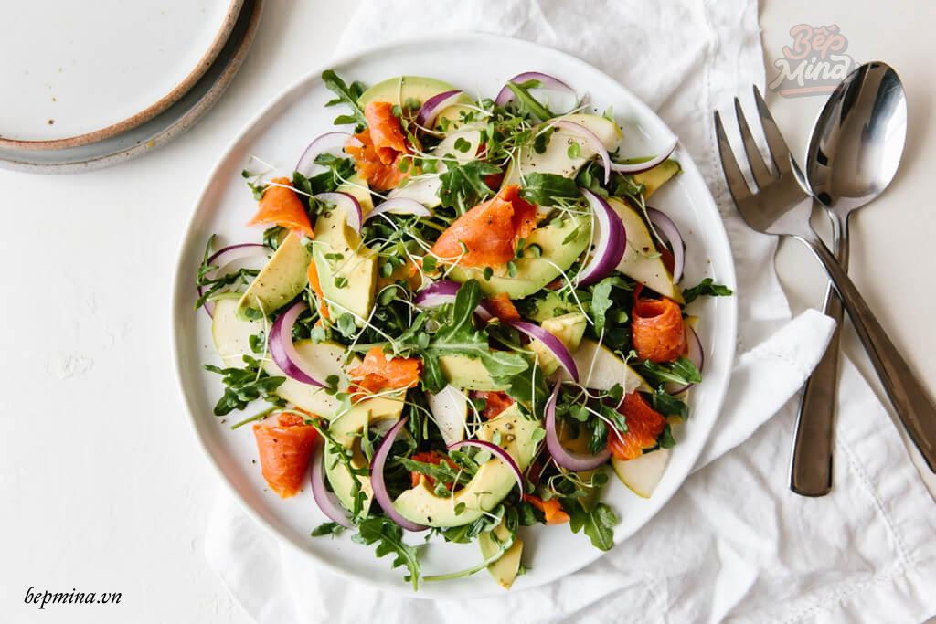 cách làm salad cá hồi hun khói