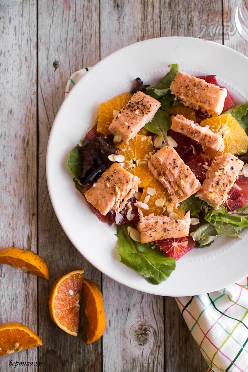 cách làm salad cá hồi với cam