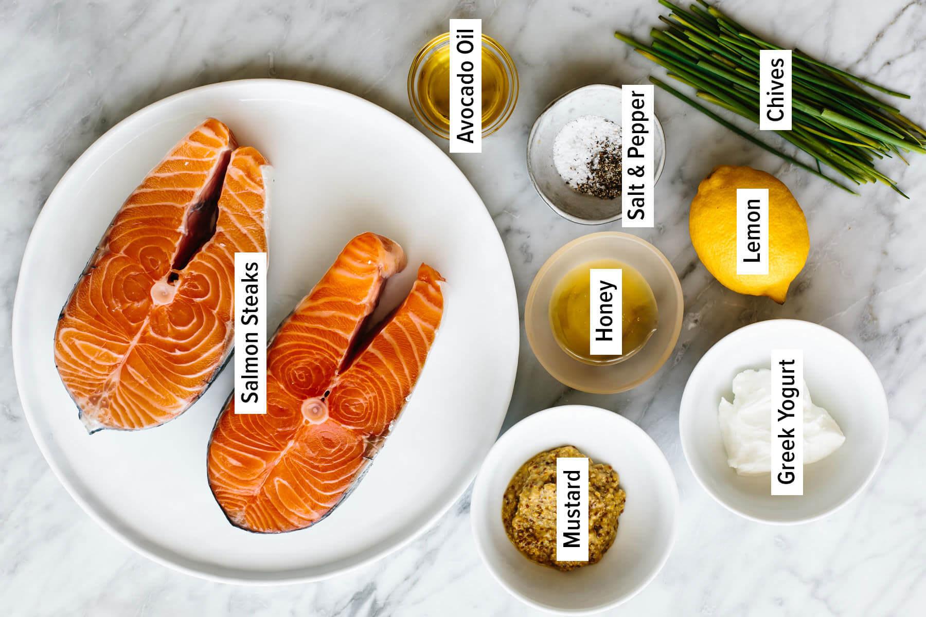 Nguyên liệu làm cá hồi nướng sốt kem mù tạt