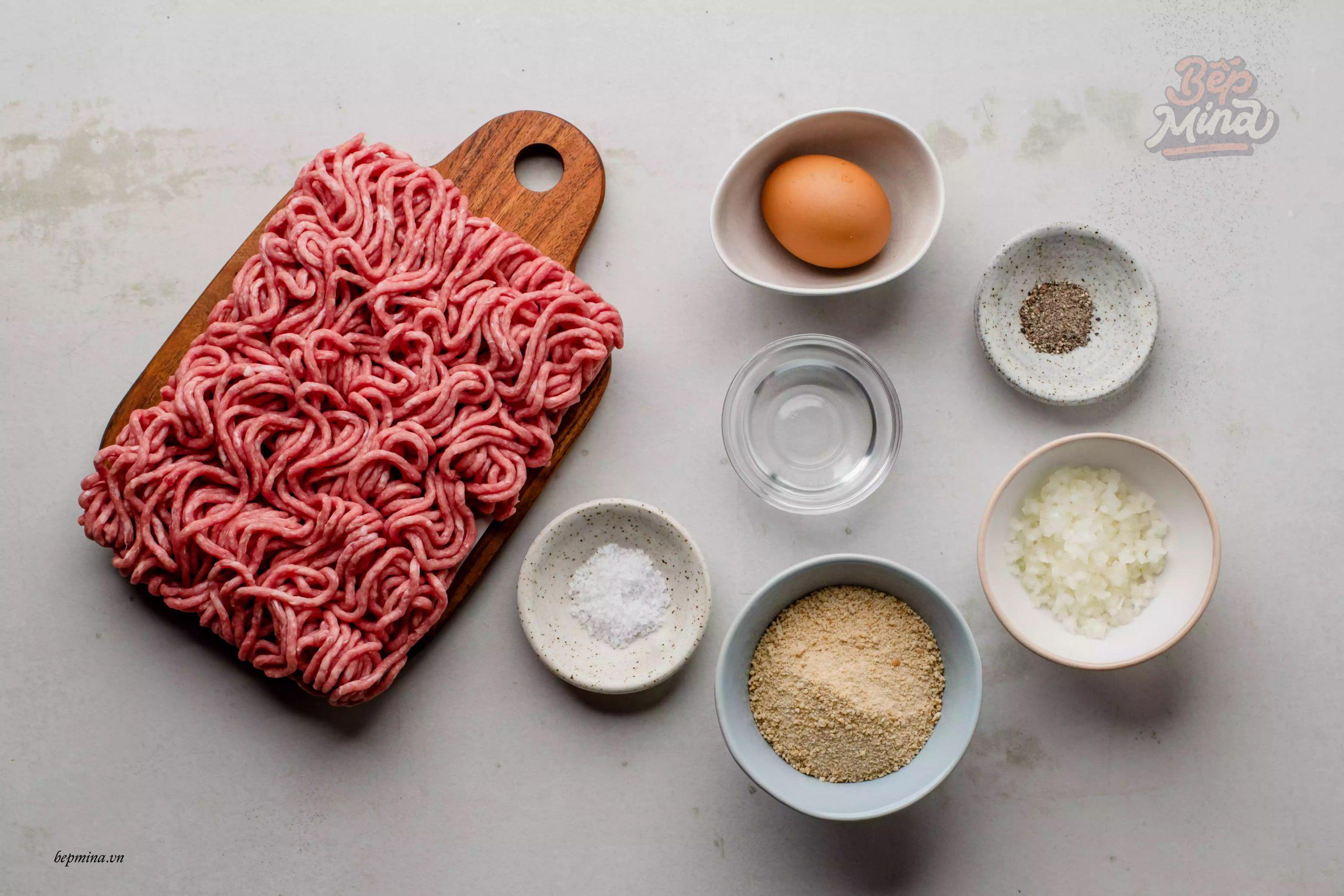 nguyên liệu làm thịt viên sốt cà chua