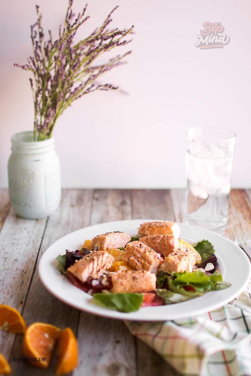 salad cá hồi sốt cam
