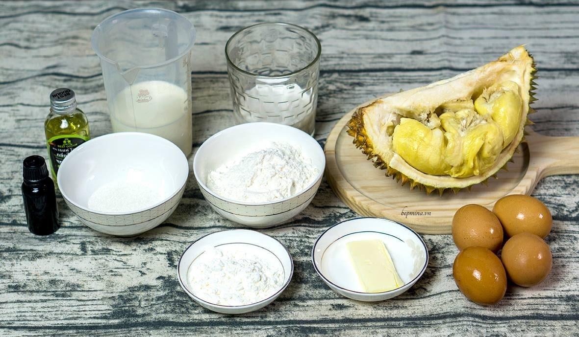 nguyên liệu làm bánh crepe sầu riêng