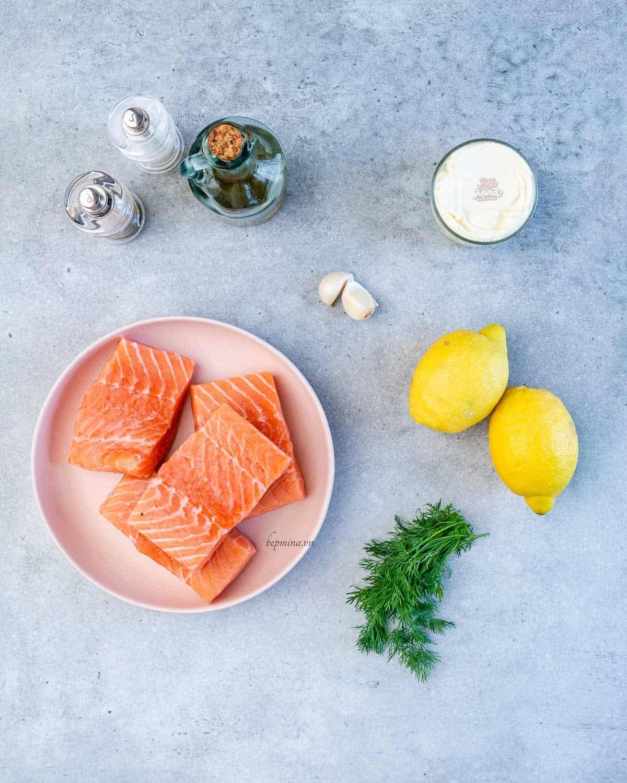 nguyên liệu làm cá hồi sốt kem chanh