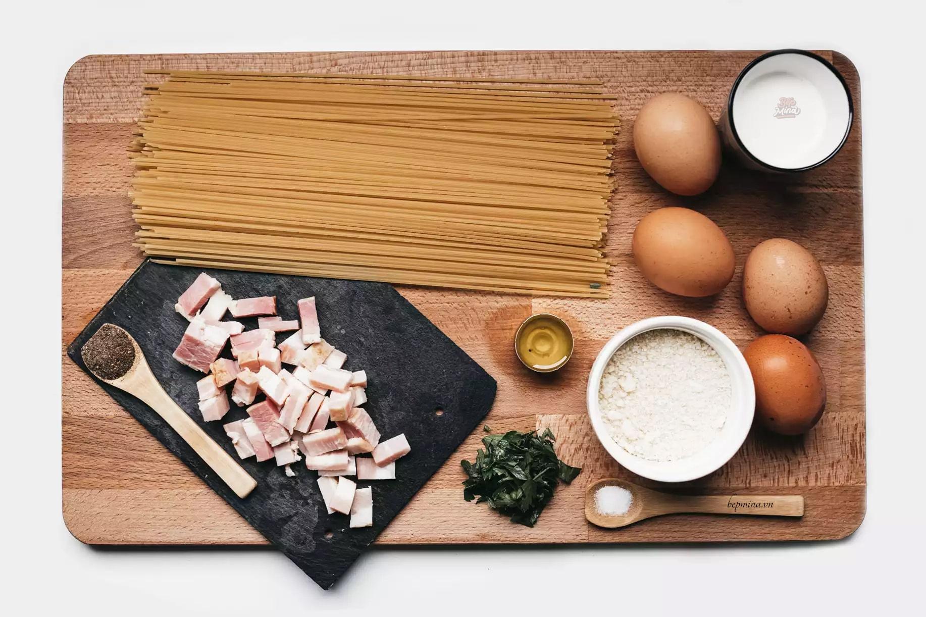nguyên liệu làm mì Ý sốt kem thịt xông khói