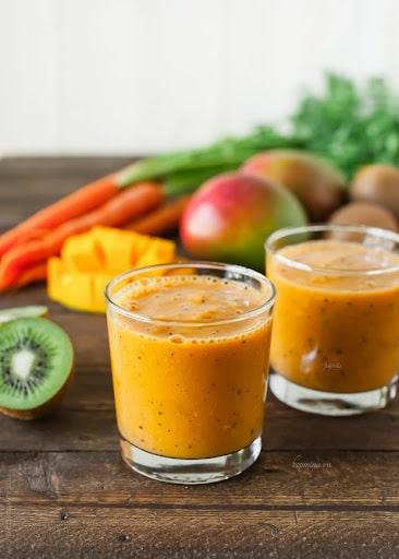 sinh tố xoài kiwi cà rốt
