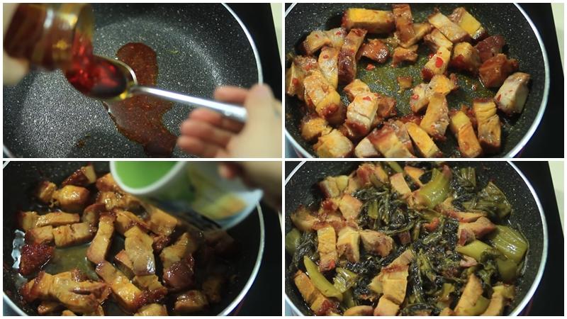 làm thịt heo kho cải chua