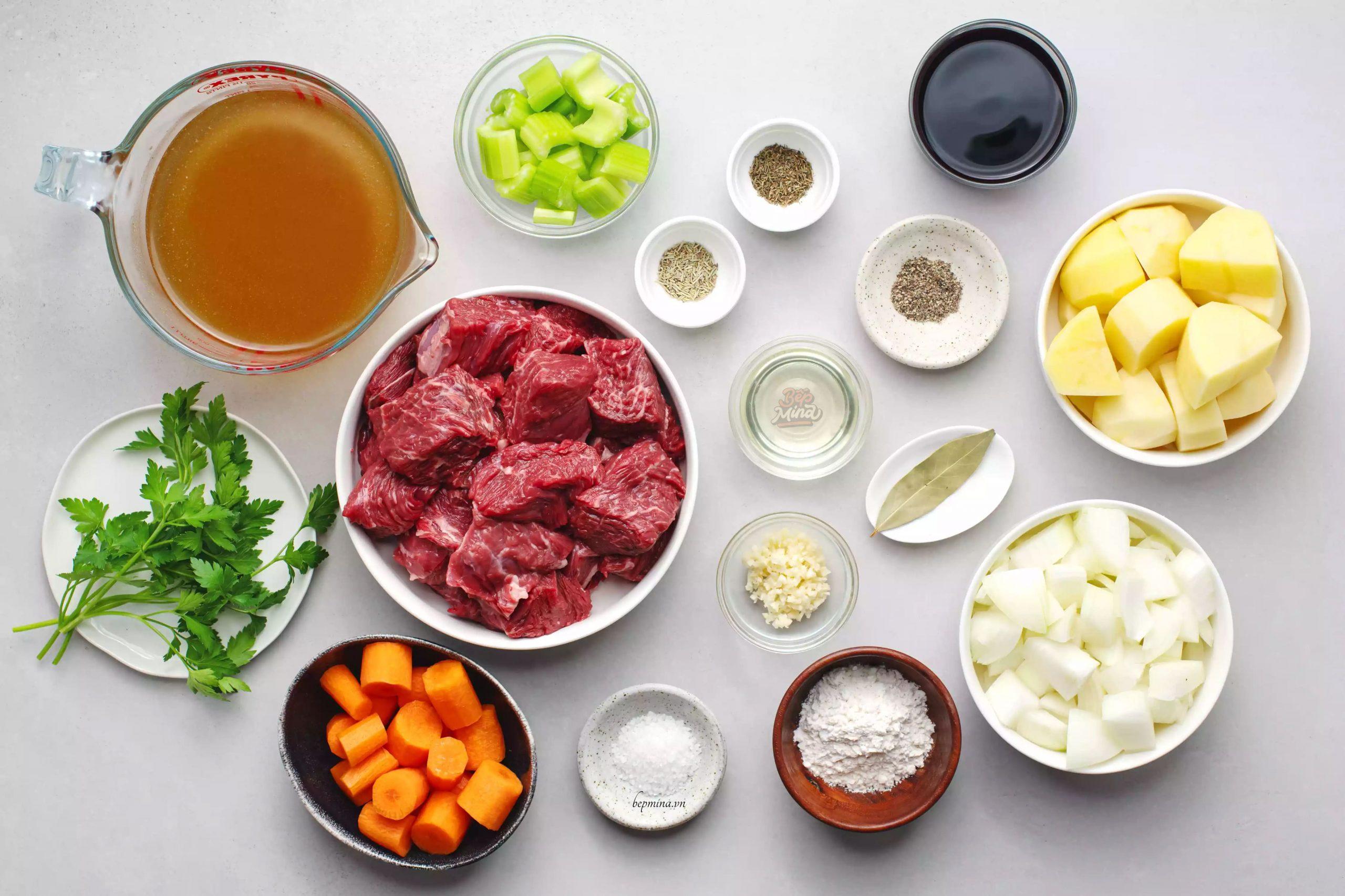 nguyên liệu nấu bò kho nước dừa