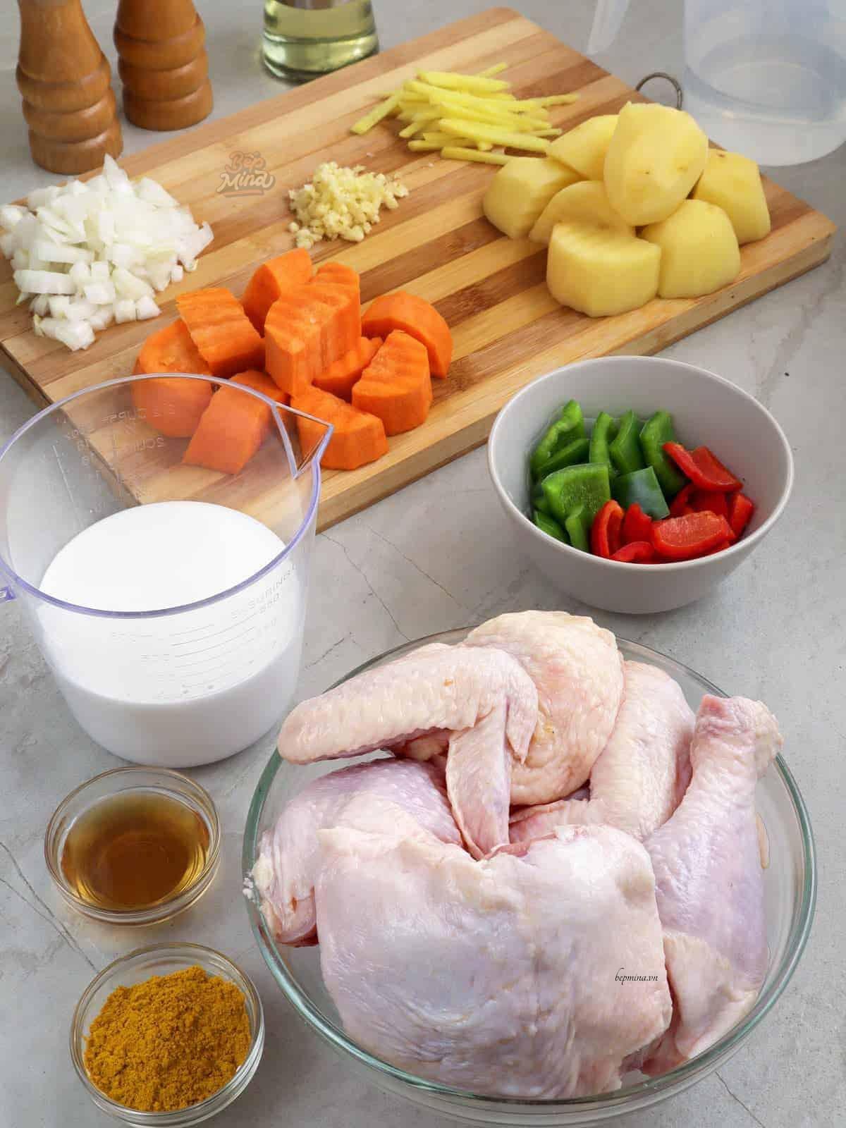 nguyên liệu nấu cari gà nước cốt dừa